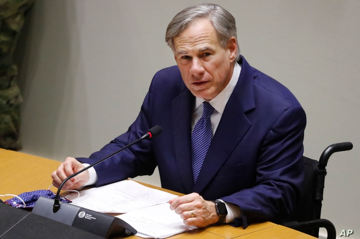 FILE - IN this Tuesday, June 20, 2020 file photo, Texas Gov. Greg Abbott speaks at a news conference at city hall in Dallas…