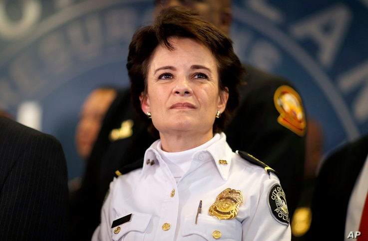 FILE - In this Thursday, Jan. 4, 2018, file photo, Atlanta Police Chief Erika Shields attends a news conference in Atlanta. On…