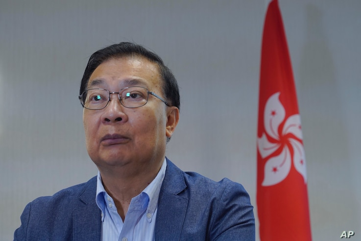 Tam Yiu Chung, Hong Kong's representative to the Standing Committee of the National People's Congress speak during an interview…