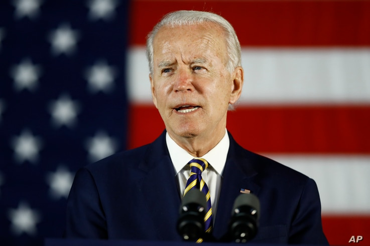 In this June 17, 2020, photo, Democratic presidential candidate, former Vice President Joe Biden speaks in Darby, Pa.