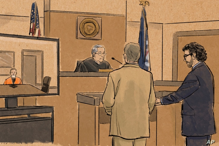 In this courtroom sketch, former Minneapolis police officer Derek Chauvin appears in on closed-circuit television from a…