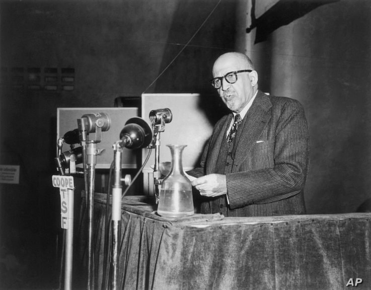 Dr. W.E.B. Du Bois, educator and writer, and leader of the American delegation, addresses the Congress of Partisans of Peace at…