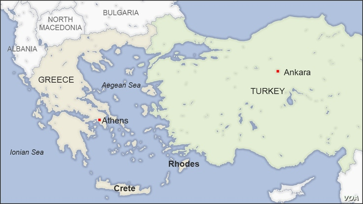 Map of Greece and Turkey featuring the Greek isles of Rhodes and Crete