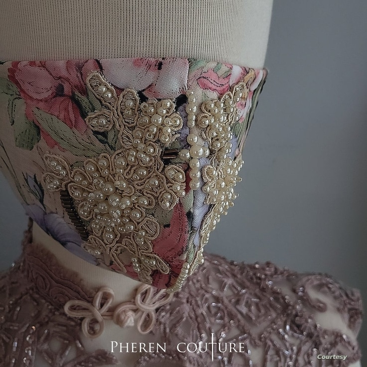 Flower Face Couture Mask by Pheren Soepadhi