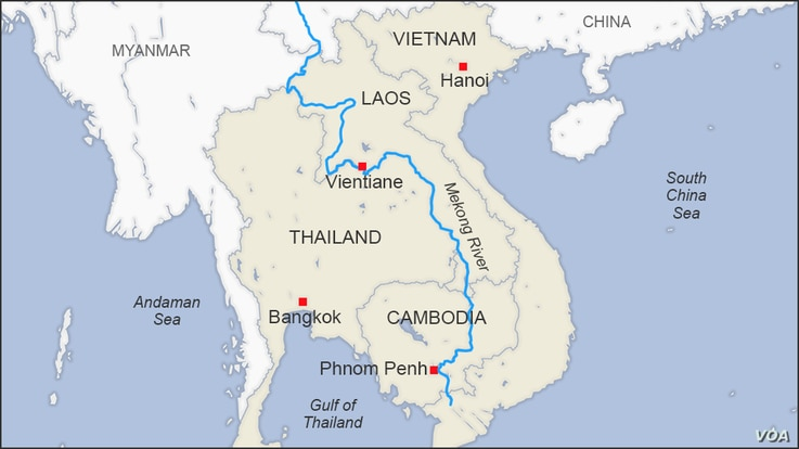Map of the Mekong River going through Laos, Thailand, Cambodia and Vietnam
