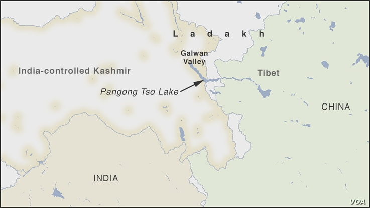 Map of the Ladakh region on India-China border