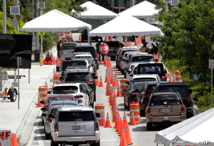 FILE - Lines of cars wait at a drive-through coronavirus testing site outside the Miami Beach Convention Center, in Miami Beach, Florida, June 26, 2020.