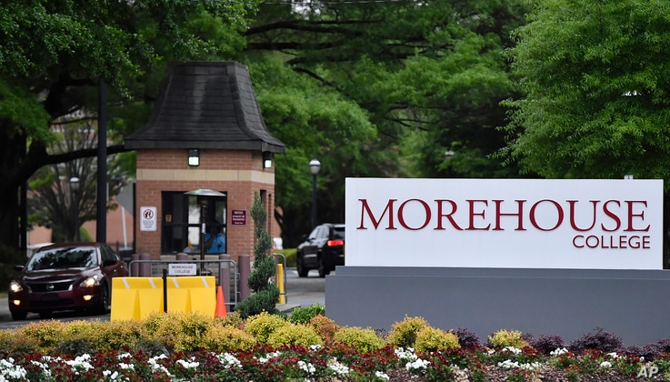FILE - People enter the campus of Morehouse College, a historically black school, in Atlanta, Georgia, April 12, 2019.