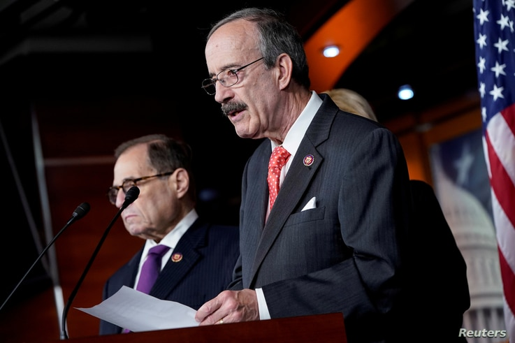 FILE - Chairman of the House Foreign Affairs Eliot Engel speaks during a media briefing on Capitol Hill in Washington, Oct. 31, 2019.