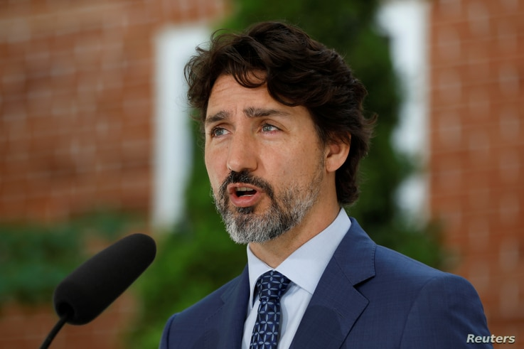 Canada's Prime Minister Justin Trudeau speaks during a news conference at Rideau Cottage in Ottawa, Ontario, Canada June 22, 2020.