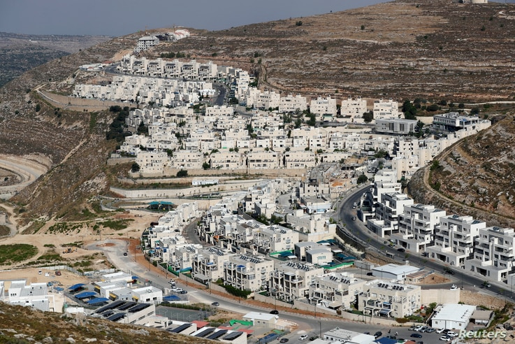 A view shows Israeli settlement buildings around Givat Zeev and Ramat Givat Zeev in the Israeli-occupied West Bank, near Jerusalem, June 30, 2020.