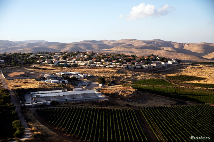 A general view picture shows the Jewish settlement of Kochav Hashachar in the Israeli-occupied West Bank, June 18, 2020.