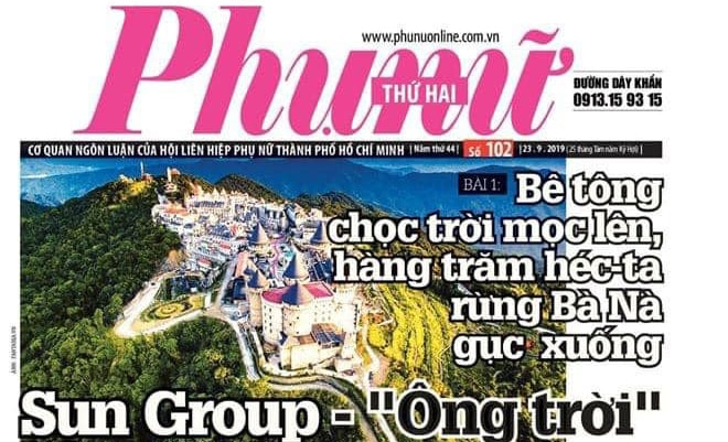 A screen shot of the front page of newspaper Phu nu Online shows a headline critical of the Sun Group. For its reporting, the outlet is not allowed to publish for one month. (Source - Nguyen Thu Trang Facebook page)