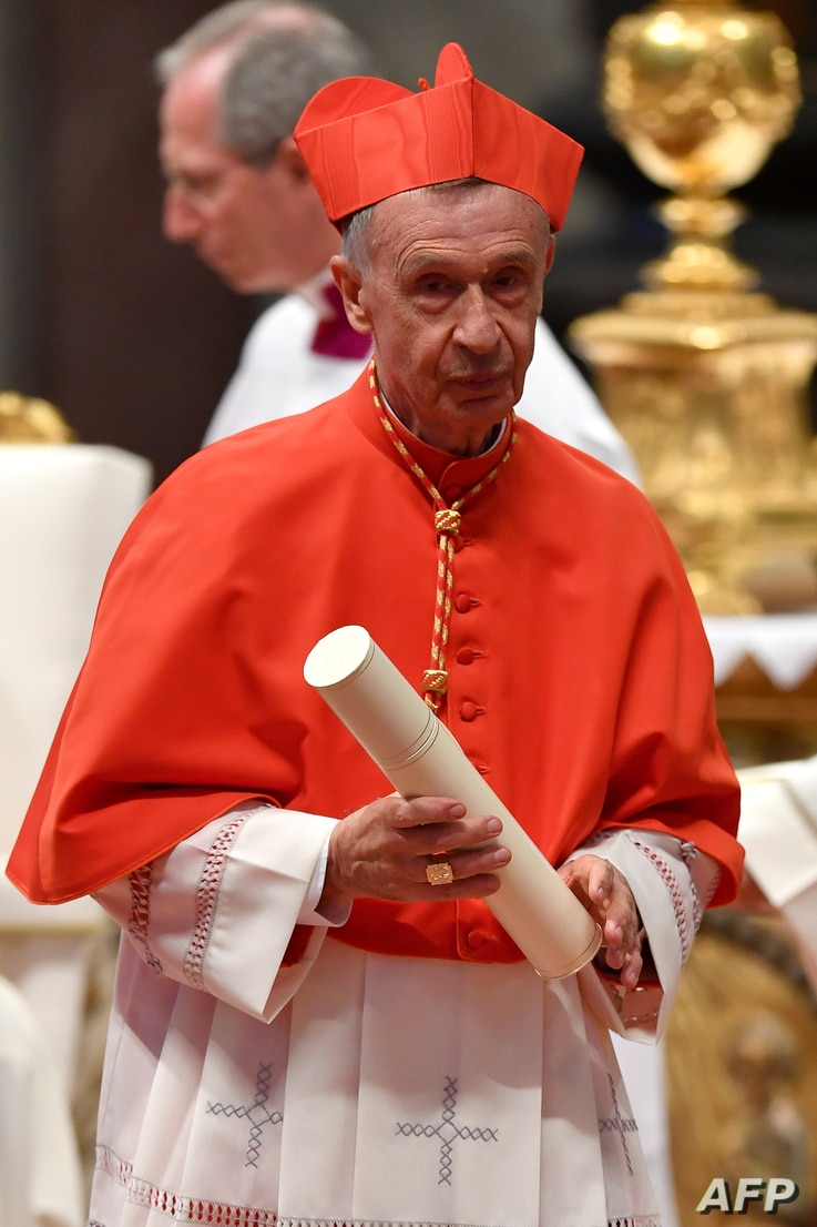 Spanish Luis Francisco Ladaria Ferrer prefect of the Congregation for the Doctrine of the Faith leaves after kneeling before…