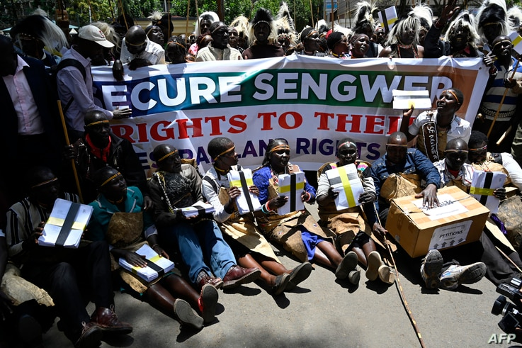 Members of Sengwer community living in Embobut forest, Elgeyo Marakwet,sit outside the office of the…