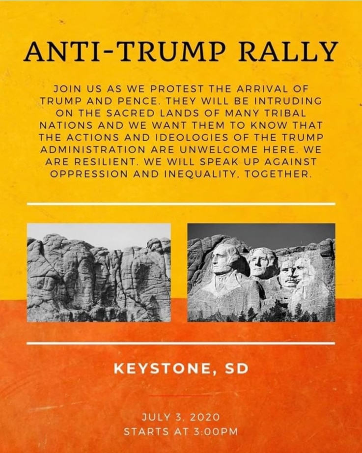 Poster on Facebook advertising a rally protesting President Trump's visit to Mt. Rushmore on July 3, 2020.