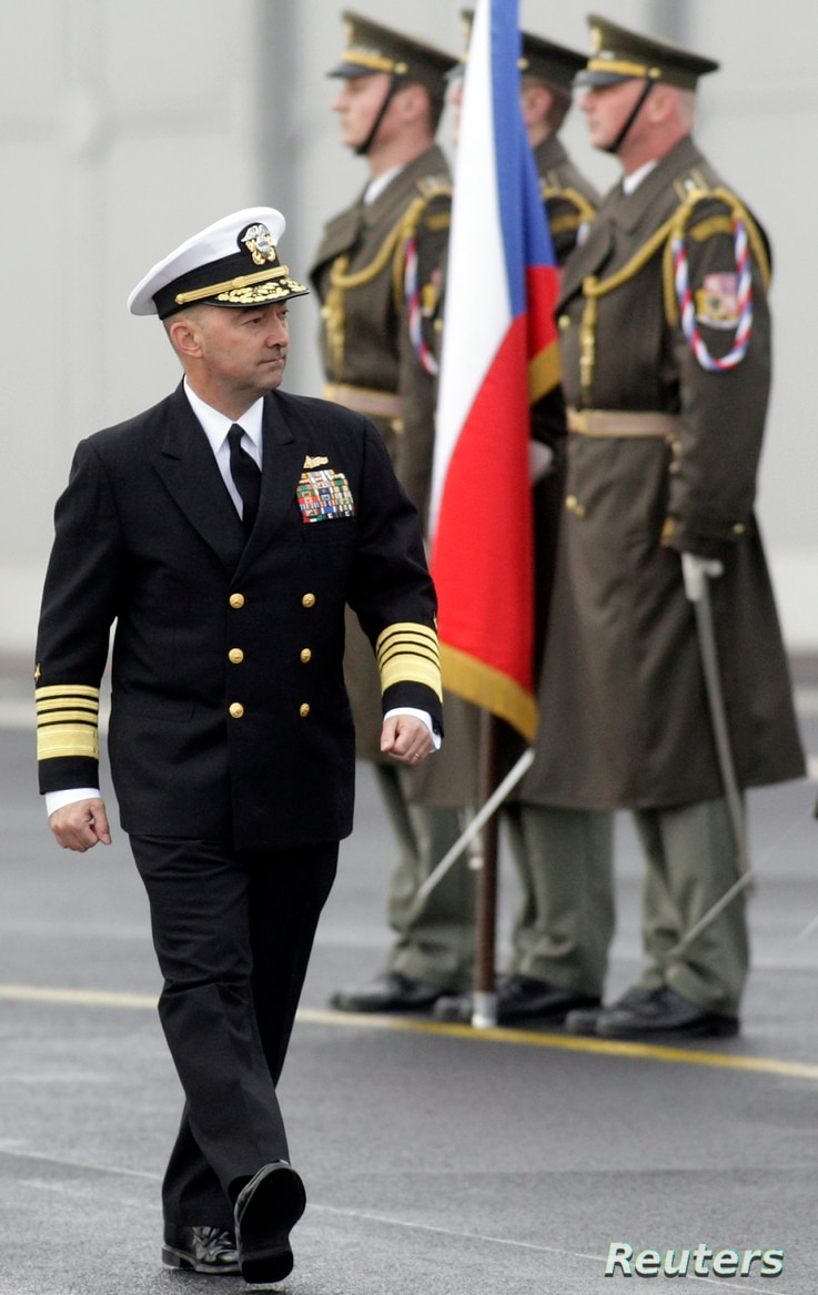 NATO Supreme Allied Commander U.S. Admiral James Stavridis walks past an honour guard during a welcoming ceremony in Prague…