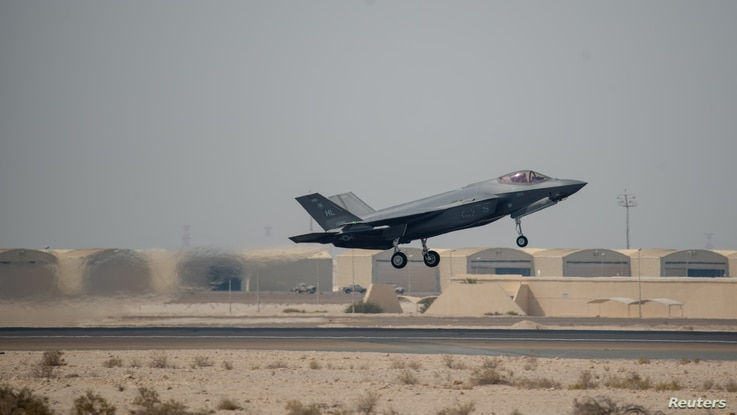 An F-35A Lightning II takes off for a mission from Al Dhafra Air Base, Abu Dhabi, United Arab Emirates, in this picture…