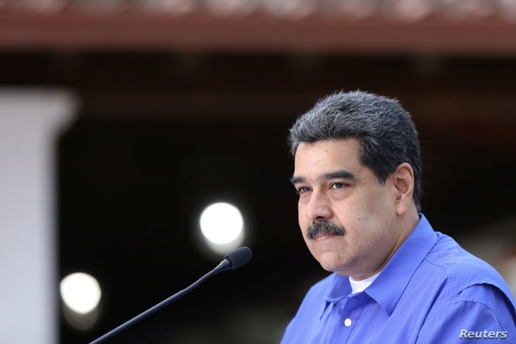 Venezuela's President Nicolas Maduro speaks during an event with the youth of Venezuela's United Socialist Party in Caracas,…