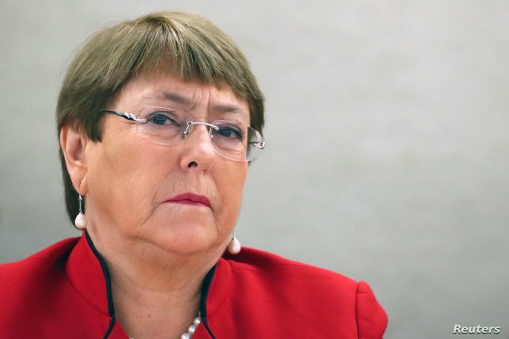 FILE PHOTO: United Nations High Commissioner for Human Rights Michelle Bachelet attends a session of the Human Rights Council…