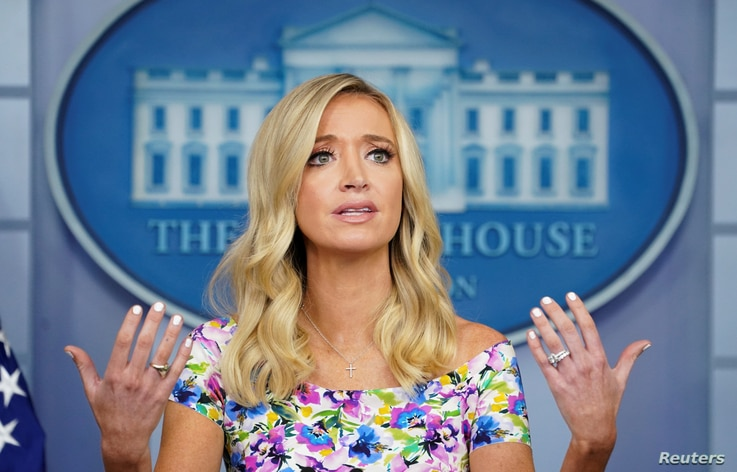 White House Press Secretary Kayleigh McEnany speaks to reporters at the White House in Washington, July 1, 2020.