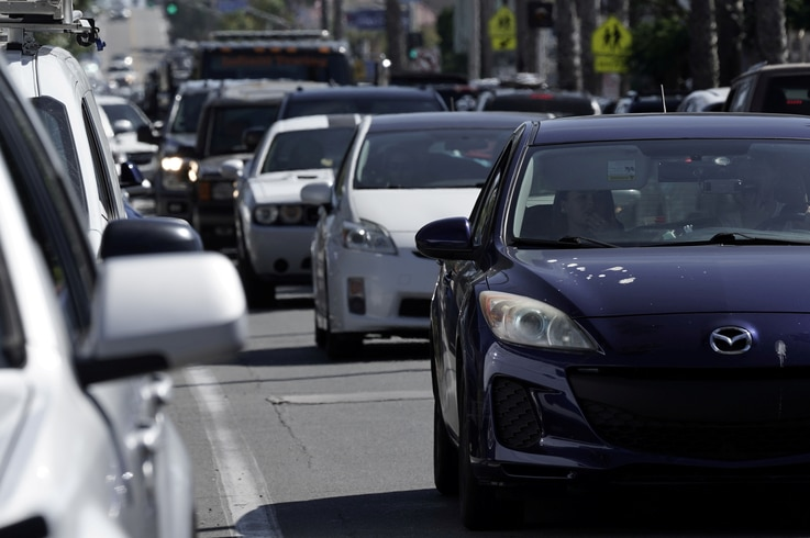 Heavy traffic is seen in the Ocean Beach neighbourhood of San Diego, California, U.S., ahead of the Fourth of July holiday July…