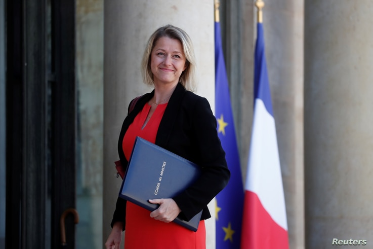 Barbara Pompili, newly appointed French Minister for the Ecological Transition, arrives to attend the weekly cabinet meeting at…