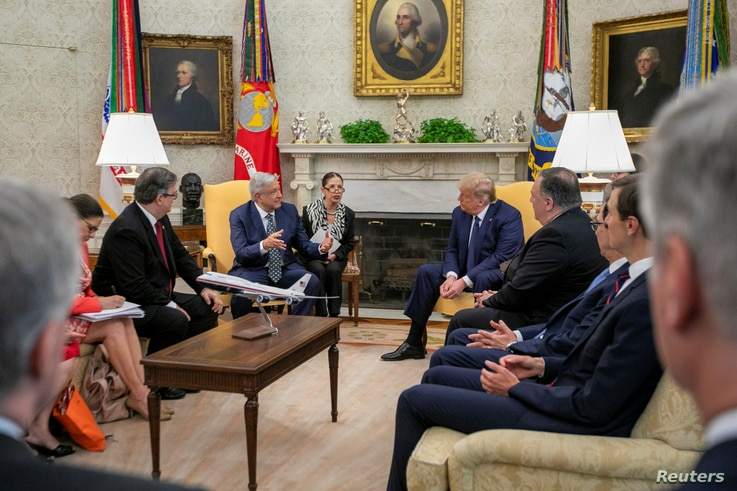 Mexico's President Andres Manuel Lopez Obrador and U.S. President Donald Trump hold a meeting at the White House, in Washington…