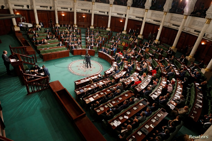 FILE PHOTO: Tunisia's prime minister designate Elyes Fakhfakh speaks at the Assembly of People's Representatives in Tunis,…