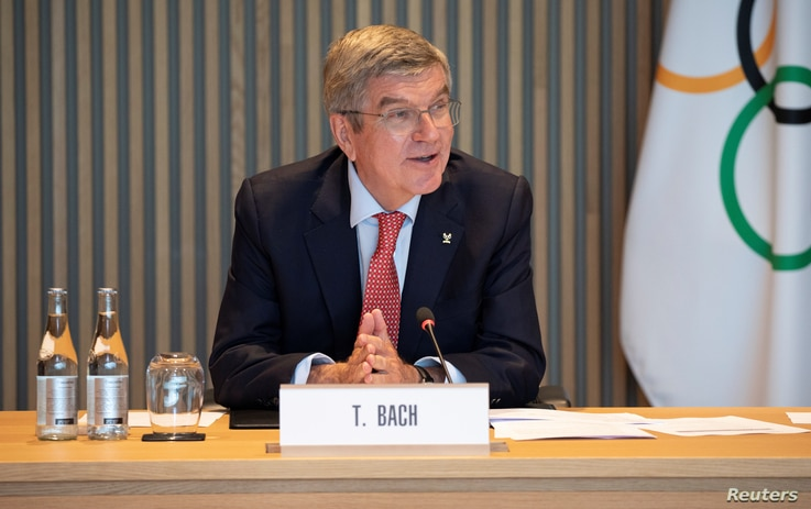 Thomas Bach, President of the International Olympic Committee (IOC) attends a meeting of IOC's executive board, as the spread…