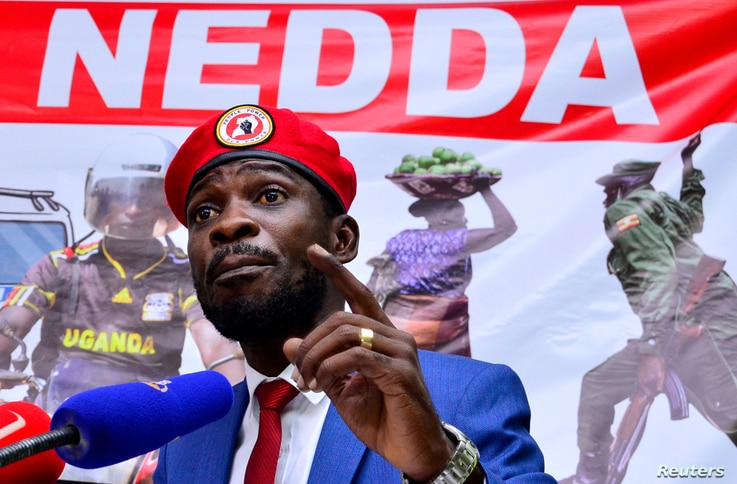FILE - Ugandan musician turned politician, Robert Kyagulanyi, also known as Bobi Wine, addresses a news conference over the government handling of the coronavirus disease (COVID-19) pandemic, in Kampala, Uganda June 15, 2020.