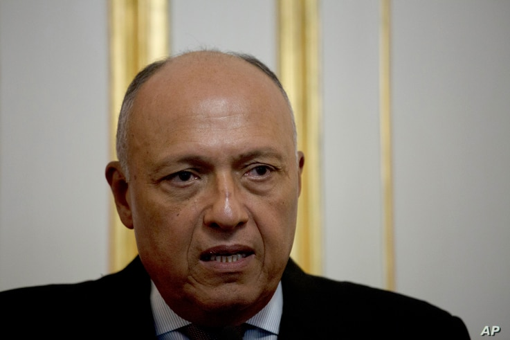 Egypt's Foreign Minister Sameh Shoukry speaks during a press conference with French Foreign Minister Jean-Yves Le Drian…