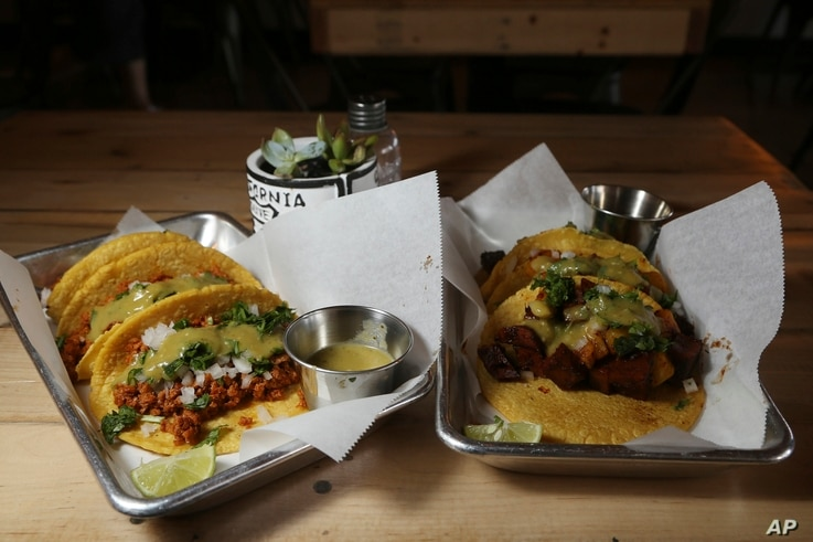 Taco selections at the Earth Plant Based Cuisine restaurant in Phoenix, Arizona, Oct. 18, 2019.