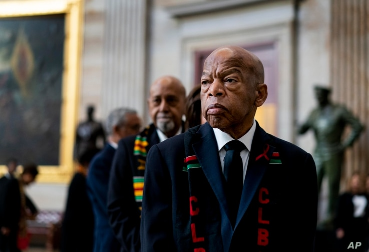 Rep. John Lewis, D-Ga., prepares to pay his respects to Rep. Elijah Cummings, D-Md., who lies in state during a memorial service at the U.S. Capitol Hill in Washington, Oct. 24, 2019.
