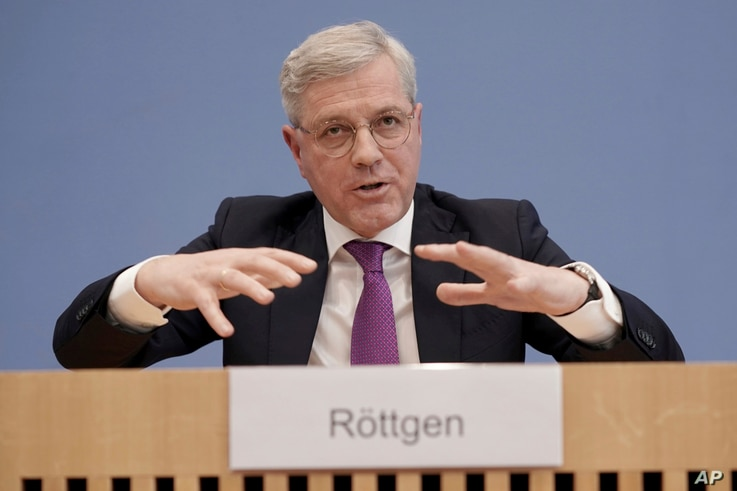 Norbert Roettgen, Chairman of the Foreign Affairs Committee of the Bundestag, speaks during a press conference in Berlin,…