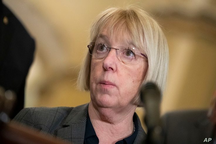 Sen. Patty Murray, D-Wash., speaks about the coronavirus during a media availability on Capitol Hill, Tuesday, March 3, 2020 in…
