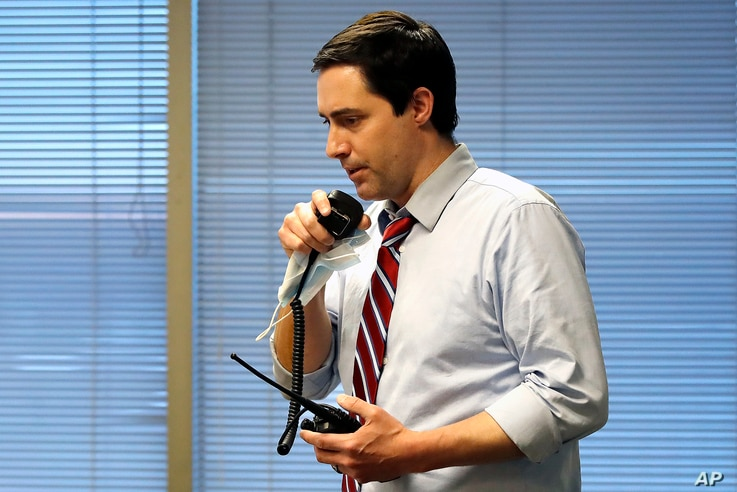 Ohio Secretary of State Frank LaRose, overseeing the Election Night Reporting Center in Columbus, Ohio, calls for the closing…