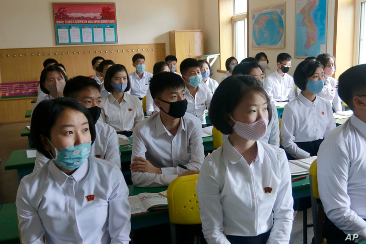 Students wearing face masks take a class at the Ryongwang Senior Middle School in Pyongyang, North Korea, Wednesday, June 3,…