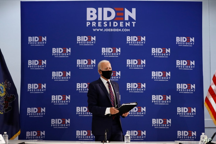 Democratic presidential candidate, former Vice President Joe Biden departs after a roundtable on economic reopening with community members, June 11, 2020, in Philadelphia.