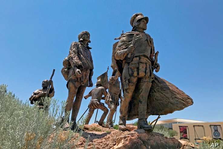 This bronze statue of Don Juan de Oñate leading a group of Spanish settlers from an area near what is now Ciudad Chihuahua,…