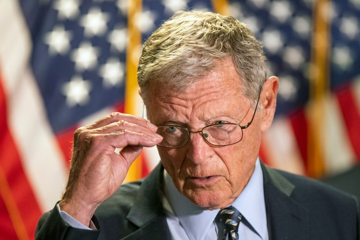 Senate Armed Services Committee Chairman James Inhofe, R-Okla., speaks to reporters following a GOP policy meeting on Capitol…