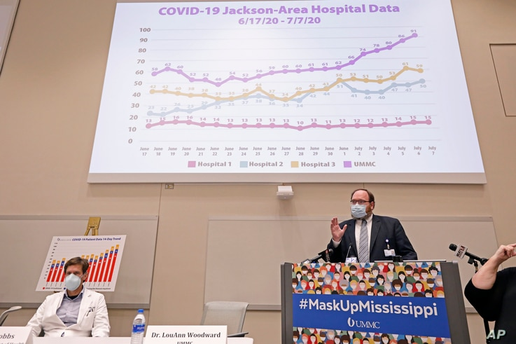 Jonathan Wilson, chief administrative officer and COVID Incident Manager at the University of Mississippi Medical Center, right…