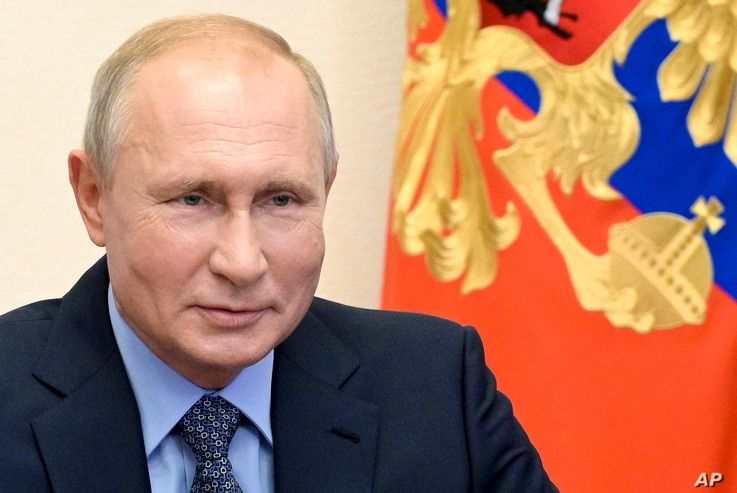 Russian President Vladimir Putin chairs a Security Council meeting via videoconference at the Novo-Ogaryovo residence outside Moscow, Russia, July 17, 2020.