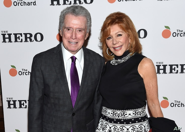 """Regis Philbin, left, and wife Joy Philbin attend a special screening of """"The Hero"""" at The Whitby Hotel on Wednesday, June 7,…"""