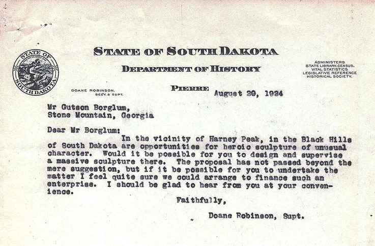 Letter written by the South Dakota state historian to sculptor Gutzon Borglum [his name is misspelled in the letter] requesting he design and build a sculpture at Mt. Rushmore in the Black Hills of South Dakota. (Image: Facebook)