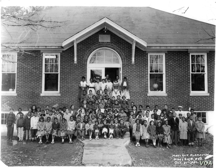 Educator Booker T. Washington and Sears Roebuck president Julius Rosenwald built schools like grant recipient May's Lick in Maysville, Kentucky, in the early 1900s for African American students in the South. (Courtesy Mays Lick Community Development Board)