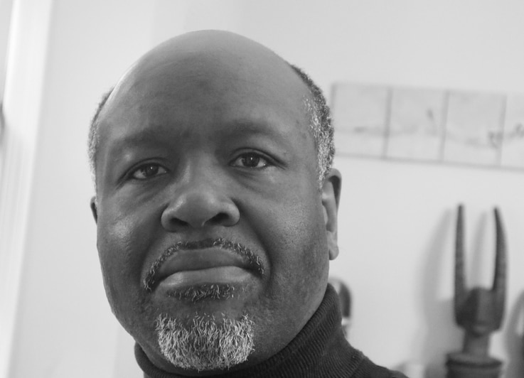 Black-and-white head shot of Chika Okeke-Agulu, a Princeton University professor