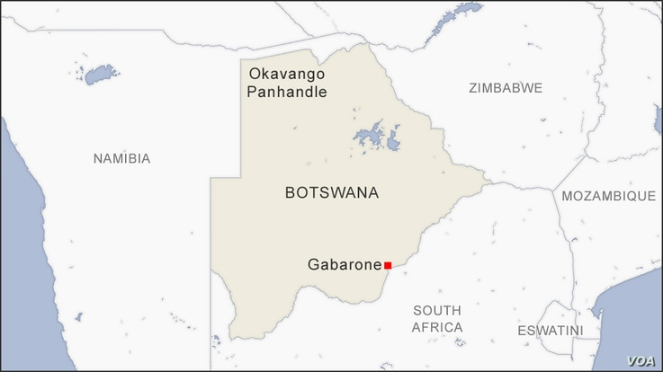Map of Okavango Panhandle, Botswana