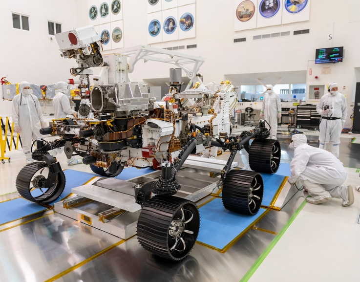 In a clean room at NASA's Jet Propulsion Laboratory in Pasadena, California, engineers observed the first driving test for NASA's Mars 2020 rover Perseveranceo, Dec. 17, 2019.