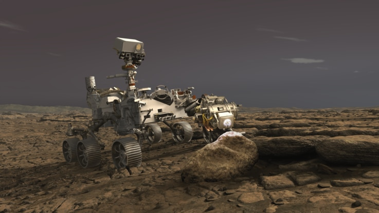 In this illustration on June 16, 2020, NASA's Perseverance rover uses its Planetary Instrument for X-ray Lithochemistry (PIXL) instrument to analyze a rock on the surface of Mars.